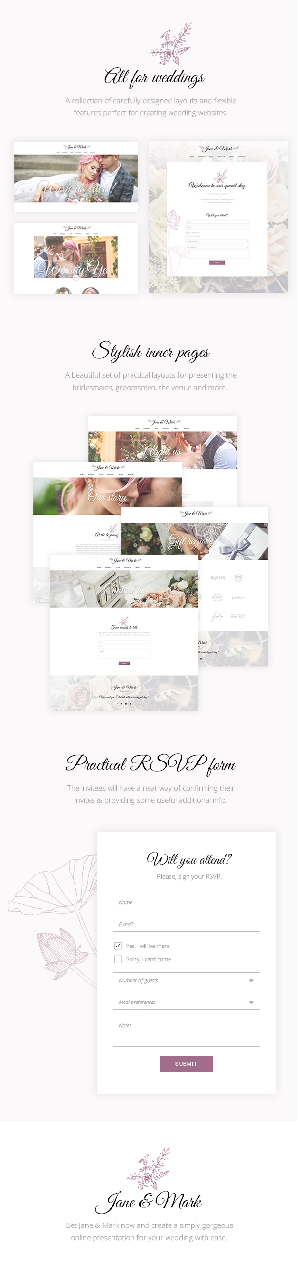 WordPress theme Jane & Mark - A Stylish Theme for Weddings and Celebrations (Wedding)